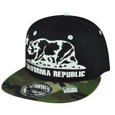 California Republic Cali Bears Camouflage Black Camo Snapback Flat Bill Hat Cap