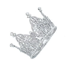 TQB47 Holy White Clear Rhinestone Crystal Pearl Alloy Bridal Tiara Little Crown