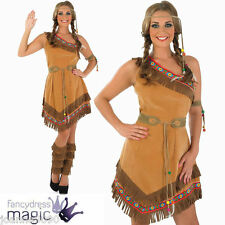 Red Indian Squaw Ladies Pocahontas Native American Tigerlily Fancy Dress Costume Medium Size UK 12 - 14