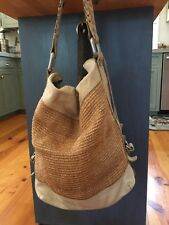 FOSSIL Brown Leather / Jute? Bucket Bag Purse