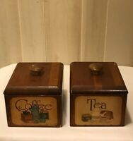 Vintage Wood Coffee, Tea, Canisters, Farmhouse Kitchen Decoration, Rustic Decor
