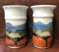Set of 2 Signed Pottery Flower Vase or Pot Drip Glaze Blue Orange Hamilton-Jones