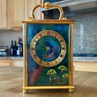 *Rare Imhof Bucherer Carriage Clock - Gold Gilt Brass Case Enamel Sides And Face
