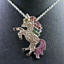 Multi-Colored Rhinestone Unicorn Pendant Necklace w/Free Jewelry Box and Ship