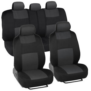 Car Seat Covers for Chevrolet Malibu Charcoal & Black w/ Split Bench