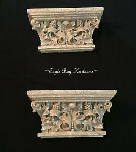Antique Finish, Carved Stone Look Acanthus Leaf Architectural Shelves, PAIR