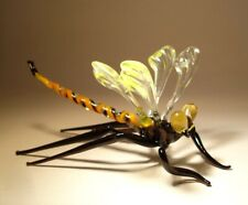 """Blown Glass """"Murano"""" Figurine Gorgeous Yellow & Clear DRAGONFLY"""