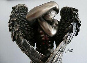 Nude MALE Angel Ornament  Bronze Finish Figurine Sculpture Art Decor ~ STUNNING!
