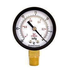 """Dry Utility Vacuum Pressure Gauge Blk Steel 1/4"""" NPT Lower Mount -30HG/0PSI #X#"""