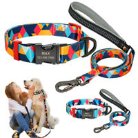 Personalized Dog Collar and Leash Set Engraved Adjustable Buckle Small Large SML