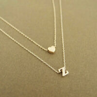 Silver Gold Multi Layer Love Heart Initial Letter Chain Friendship Necklace UK