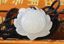 Chinese beautiful natural white jade hand-carved lotus flower pendant