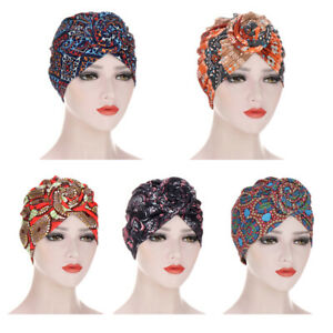 YUYOUG Vintage Femmes Musulman Stretch Turban Chapeau Chemo Cap Perte de Cheveux T/ête /Écharpe Wrap Hijab Cap Cancer Bonnet Chapeau R/étro