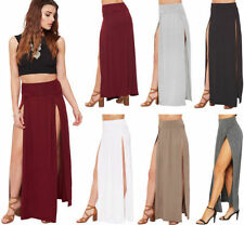 Viscose Patternless Regular Size Maxi Skirts for Women