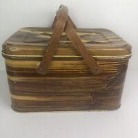 Vintage 1950's Metal Tin Picnic Basket Wood Tone Wood Handles Faux Wood Design