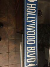 "Hollywood Blvd BLUE 4"" x 18"" Aluminum METAL Novelty Street Sign"
