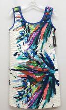 OLEG CASSINI Size 4 White Blue Watercolor Textured Sleeveless Sun Sheath Dress