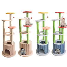 "51"" Multi-Level Cat Tree Scratching Tower Post Pet House Scratcher Furniture Bed"