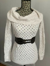 Guess Women's Belted Off the Shoulder Boat Neck Tunic Sweater White Cream XS NWT