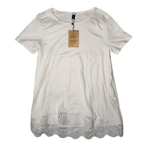 Fashion Women's Basic T-shirt Blouse White Bottom Lace Round Neck Size Small New