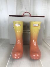 HUNTER Original Short Rainboots Clear Sunset Haze Size 6 Orange Yellow