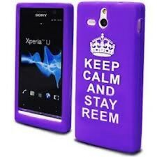 Sony Xperia U ST25i Purple Silicone Gel Keep Calm and Stay Reem Stocking Filler