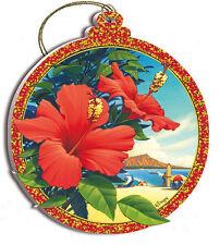 Christmas Tree Ornament Red Hibiscus Kerne Erickson Hawaiian Art Collectible