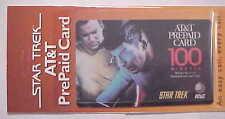 Vintage AT&T PREPAID CARD Star Trek 100 Minutes KIRK & SPOCK  MINT!!