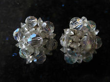 Vintage (60's) cut crystal beaded  clip earrings - Silvertone - shimmery