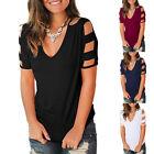 Women Ladies Summer Loose Cold Shoulder V Neck Blouse Solid Casual T Shirt Tops