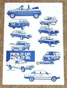 1980-83 HENRY STREETER PEUGEOT TALBOT DEALER Kent Leaflet Brochure Alpine 504