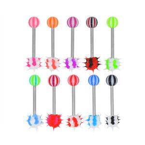 10pcs 14 Gauge 3/8 Inch Surgical Steel Barbell Koosh Spiky Tongue Piercing T280