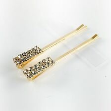 USA Bobby Pin Rhinestone Crystal Hair Clip Hairpin Jeweled Pretty Gold Clear B35