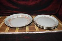 """4 Piece Set Niderviller France Peint Main """"Maille"""" Pink & White 1 Tray, 3 Plates"""