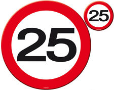 25TH BIRTHDAY PARTY SET 4 PLACE MATS & COASTERS AGE TRAFFIC SIGN