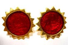 SoHo® Ohrclips Sonne gold Kunstharz rot SoHo vintage retro resin vintage