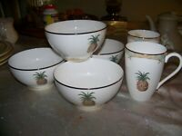 6 pc LOT  Lenox British Colonial Bamboo 4 Rice Bowls AND 2 Mugs 4 with stickers