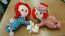 Vintage Baby Raggedy Ann and Andy Crawling Applause Dolls