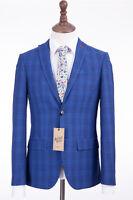 Men's Antique Rogue Slim Fit Suit Cobalt Blue Check 36R W32 L31