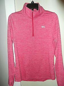 LN Women's Under Armour Pink Marbled 1/4 Zip HeatGear Shirt Size M