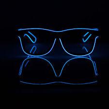LED EL Wire Glasses Light Up Glow Sunglasses Eyewear Shades DJ Nightclub Party