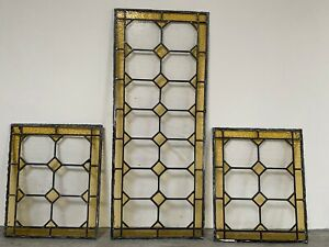 Antique Lead Stained Glass Windows X 3 - Yellow Inserts