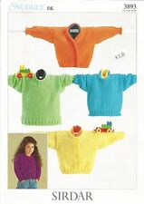 """Snuggly Cardigans Sweater Double Knitting Pattern Children Sirdar #3893 16""""-28"""""""