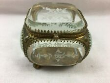 Antique Napoleon III jewel box bevelled carved glass XIXth footed