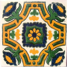 #C042) Mexican Tile sample Ceramic Handmade 4x4 inch, GET MANY AS YOU NEED !!