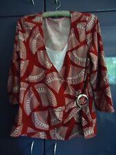 RED & WHITE GEOMETRIC PRINT Womens 3/4 Sleeve Top (M)