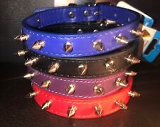 NEW Spiked Leather Dog Collar (BLUE) Fits up to 15  Neck for MED SIZE DOG *FRIDA