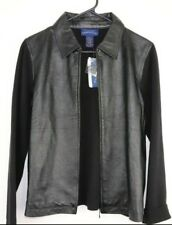 Charter Club Womens NWT Faux Leather Front Zip Jacket Size L