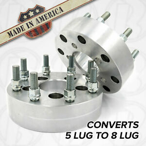 "USA MADE 5 to 8 lug Wheel Adapters  2"" Spacers Dodge 5x5.5"" to 8x6.5"" 9/16 Stud"