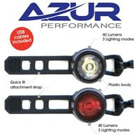 Azur Cyclops USB Rechargeable Front & Rear Bike Bicycle Light Set Plastic Body